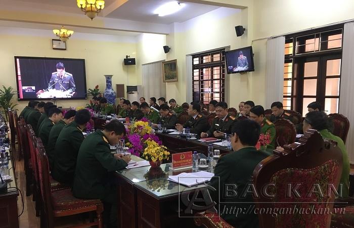Giao ban trực tuyến giữa Bộ Công an và Bộ Quốc phòng tại điểm cầu Công an tỉnh Bắc Kạn