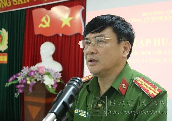 Đại tá Nguyễn Thanh Tuân – Phó Giám đốc Công an tỉnh phát biểu khai mạc lớp tập huấn